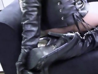 Nicky - Leather Mini Skirt and Boots