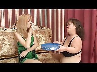 Midget Granny and Mature Blond Lesbians
