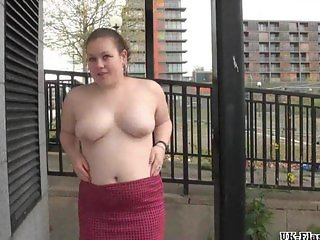 Busty bbw amateur Charlies public nudity and crazy exhibitionism outdoors