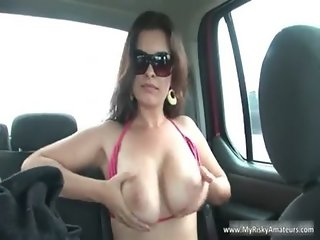 Who is She? Milf masturbates in car