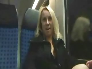 Pretty blonde in train