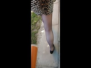New mini skirt tights and heels