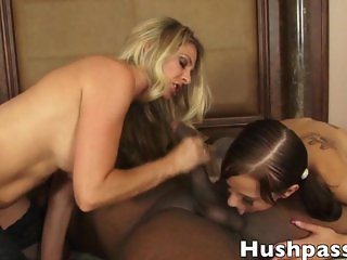 Step Mom and Daughter worship a Black Monster Cock