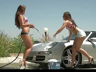 Lucky Guy gets 2 Petite Teengirls washing his car ctoan
