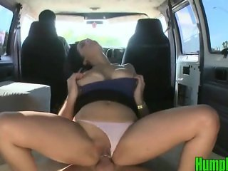 Amateur Slut Fucks with her Panties on inside the Hump Bus