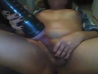 Ladyboy wanking her cock with a fleslight