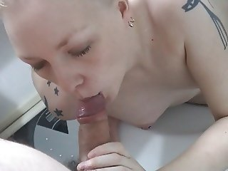 Blonde Girl in a Swinsuit Playing