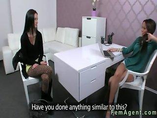 Brunette amateur has lesbian casting for porn