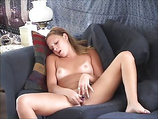 voyeur view - blonde fucking a vibrator - and ORGASMs!