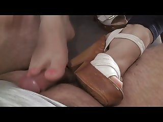 Wedge shoes heels Shoejob Trample Footjob and cumshot