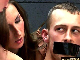 BDSM femdom CFNM euro babes wanking sub