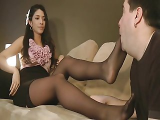 Hot brunette black pantyhose worship
