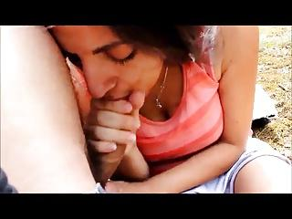 Arab girl sucking white cock