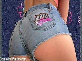 Curvy teen Maggie in tight jean shorts