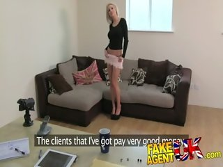 FakeAgentUK Beautiful petite blonde gives amazing blowjob in fake casting