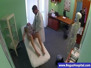 Real doctor eats his patients pussy