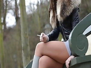 Smoking fetish dangling crushing cigarette julie