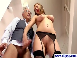 Young euro slut giving blowjob to old man