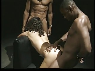 Pretty curly-haired Latina blows two black dicks to completion