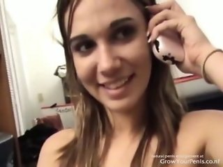 Hot Brunette Fucks while talks on the phone