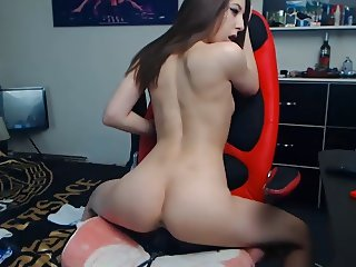 Sexy tight girl rides dildo on webcam!