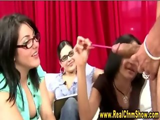 Cfnm femdom jerks victim cock as her friends watch