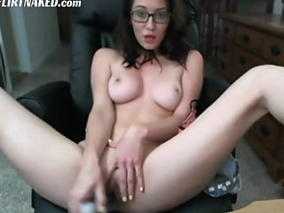 Big Tits Girl With Glasses Masturbation