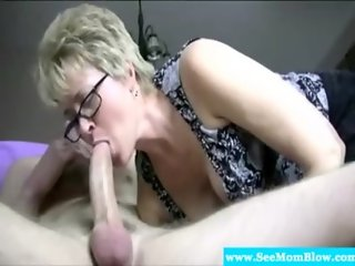 Mature granny has deep throat