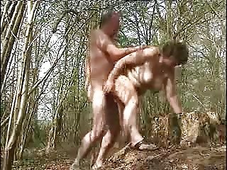 Mature couple fucking in wood. Public nudity
