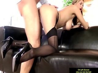 Hot teen in stockings riding on cock in high def