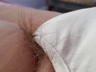 long pubic hair hanging from wifes pantys, feet