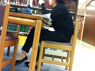 Candid Asian Library Shoeplay Feet Dangling Flats Pt 2