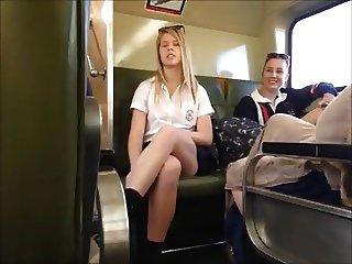 Upskirt Blonde Teen on Train