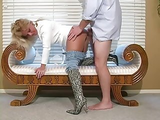Hot Blonde Cougar In Boots BJ and Bang- Pt 2