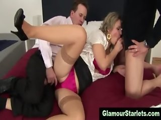 Clothed stockings hoe gets fucked