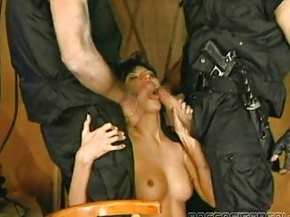 Brunette fucked by 2 Soldiers