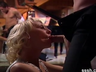 Erotic slow blowjob on the piano