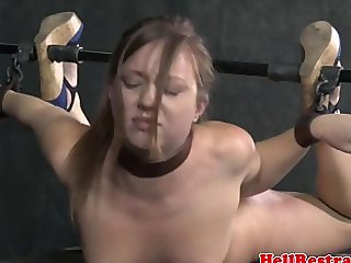 Over arm tied sub being face slapped