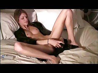 Slim girl with a huge vibrator
