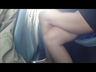 MILF hot legs in bus