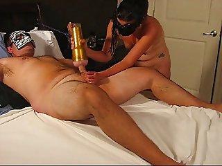 wife uses fleshlight on husband
