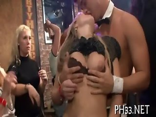 Hard core gangbang in night club