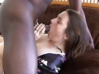 Hubby films brunette wife fucking big black cock bareback