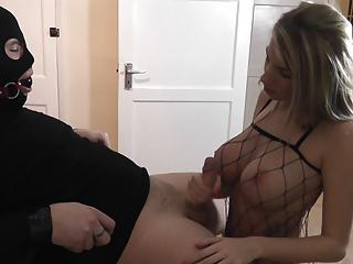 Hot Girl in Fishnet Gives Handjob