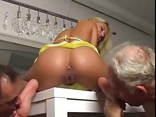 two slaves worship beautiful mistress