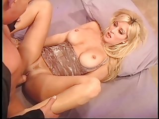 Blondes pussy gets licked then fucked on the bed