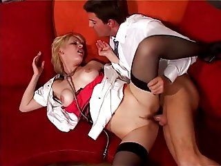 Naughty nurse sucking a guy dick