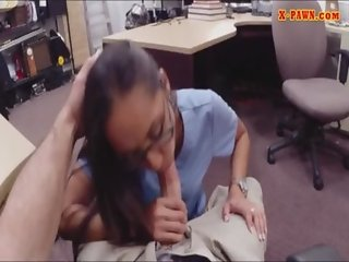 Desperate nurse pussy banged in the pawnshop for money