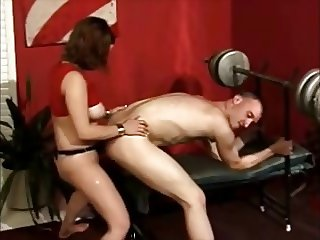 girl exercises on  his ass