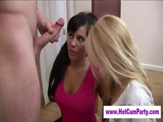 Cfnm femdoms blowjob facial